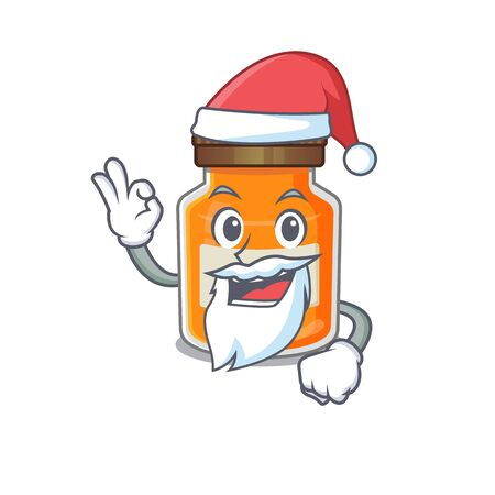 Peach jam in Santa cartoon character style with ok finger. Vector illustration