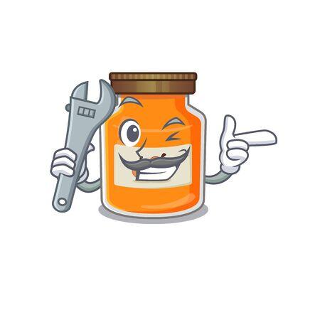 Smart Mechanic peach jam cartoon character design. Vector illustration Ilustrace