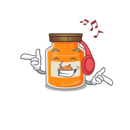 Listening music peach jam cartoon character concept. Vector illustration