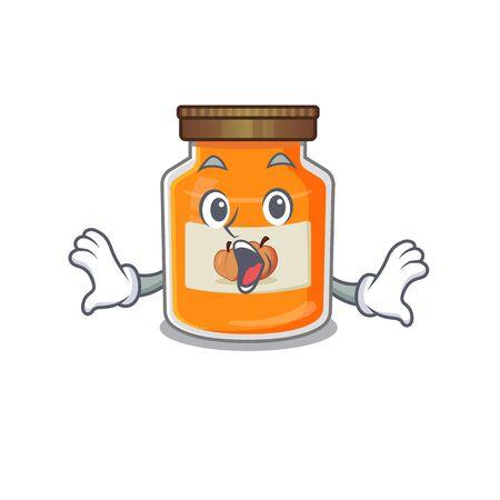 Peach jam mascot design concept with a surprised gesture. Vector illustration