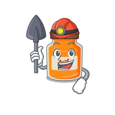 Cool clever Miner peach jam cartoon character design. Vector illustration Ilustrace