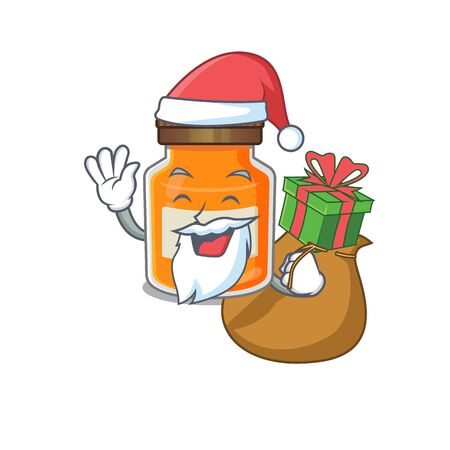 Santa peach jam Cartoon character design having box of gifts. Vector illustration Ilustrace