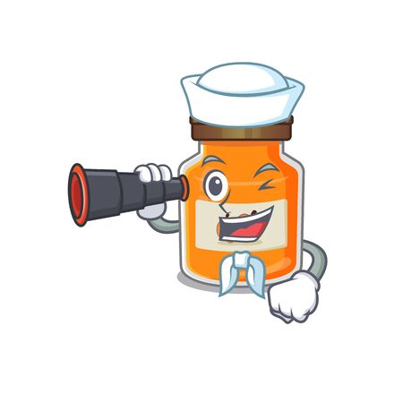 A picture of peach jam working as a Sailor with binocular. Vector illustration