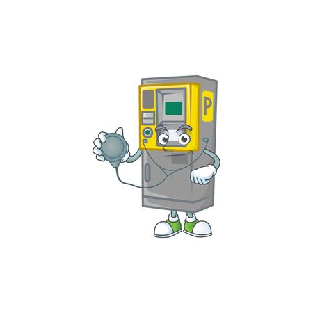 Parking ticket machine mascot icon design as a Doctor working costume with tools