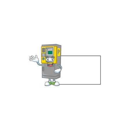 Cheerful parking ticket machine mascot style design with whiteboard. Vector illustration