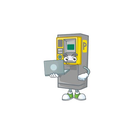 A smart parking ticket machine mascot icon working with laptop. Vector illustration