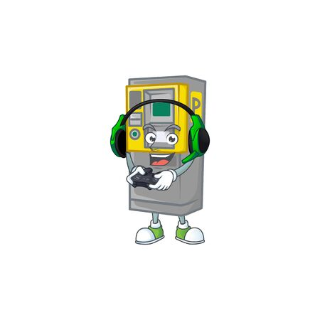Parking ticket machine cartoon picture play a game with headphone and controller. Vector illustration