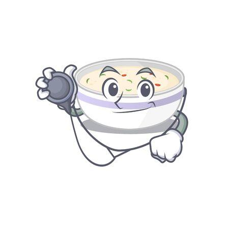 A mascot picture of steamed egg cartoon as a Doctor with tools. Vector illustration