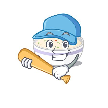 Smiley Funny steamed egg a mascot design with baseball. Vector illustration