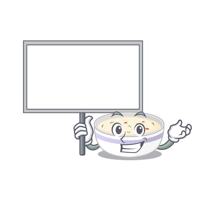 A cute picture of steamed egg mascot design with a board. Vector illustration Ilustrace