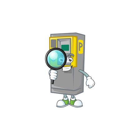 A famous of one eye parking ticket machine Detective cartoon character design