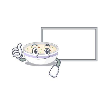 Thumbs up of steamed egg cartoon design having a board. Vector illustration