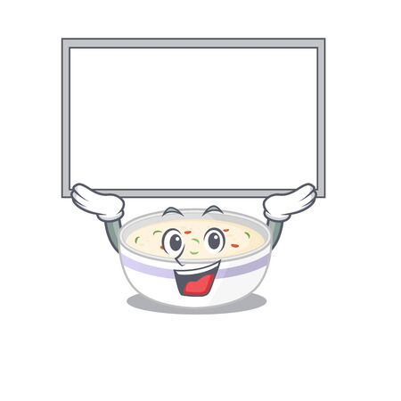 A steamed egg mascot picture raised up board. Vector illustration