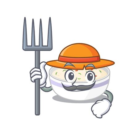 Happy Farmer steamed egg cartoon picture with hat and tools. Vector illustration Ilustrace