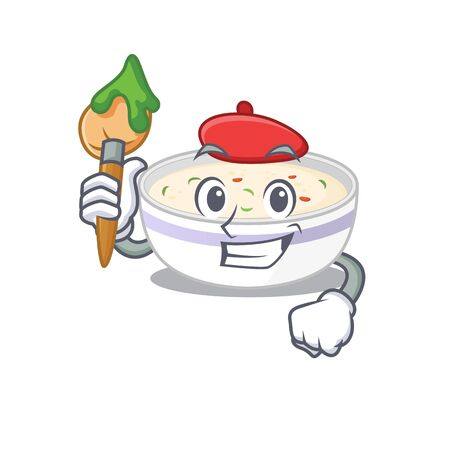 A cute picture of steamed egg as an Artist having a brush. Vector illustration Vectores