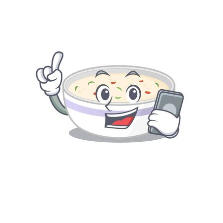 Steamed egg Cartoon design style speaking on a phone. Vector illustration Ilustrace