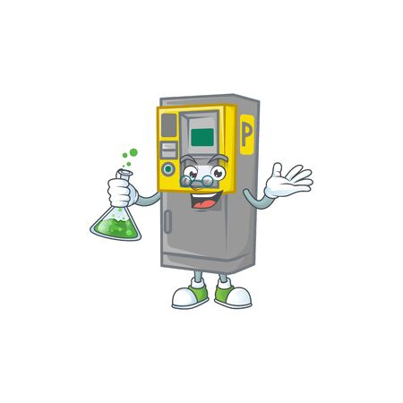 A genius Professor parking ticket machine cartoon character with glass tube