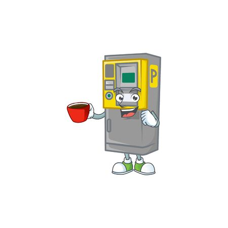 Cool parking ticket machine cartoon character with a cup of coffee