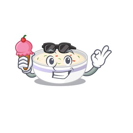 happy face steamed egg cartoon design with ice cream. Vector illustration