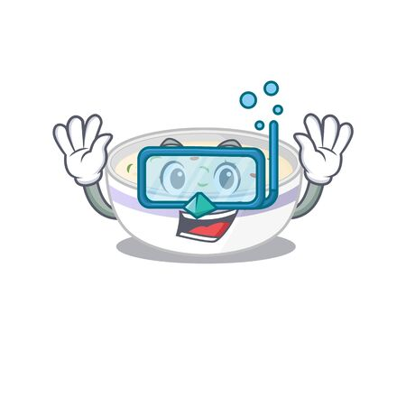 cartoon character of steamed egg wearing Diving glasses. Vector illustration Ilustrace