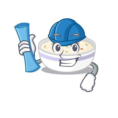 A success of steamed egg Architect having blue prints and blue helmet. Vector illustration