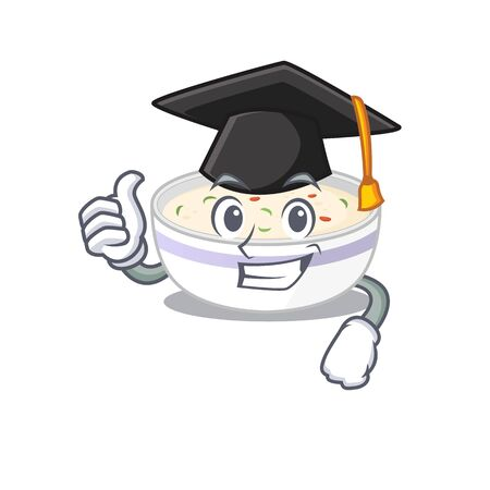 happy and proud of steamed egg wearing a black Graduation hat. Vector illustration