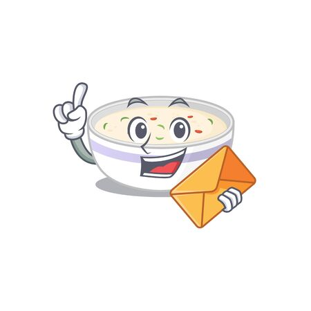 Happy face steamed egg mascot design with envelope Ilustrace