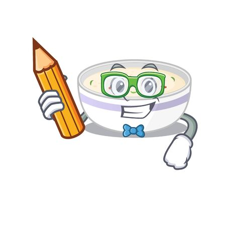 A smart Student steamed egg character holding pencil