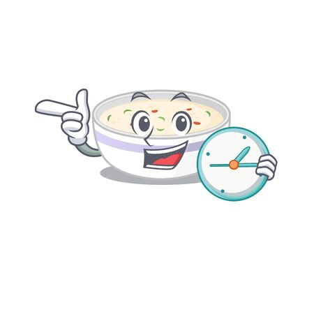 cartoon character concept steamed egg having clock. Vector illustration Vectores