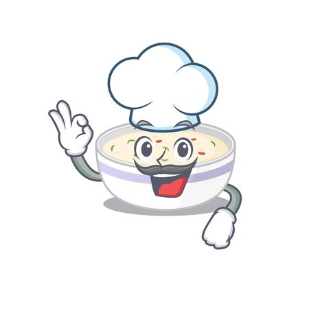 Steamed egg cartoon character working as a chef and wearing white hat Ilustrace