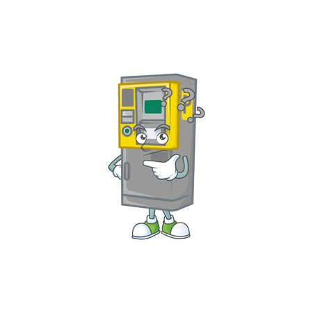 Parking ticket machine cartoon mascot style in a confuse gesture