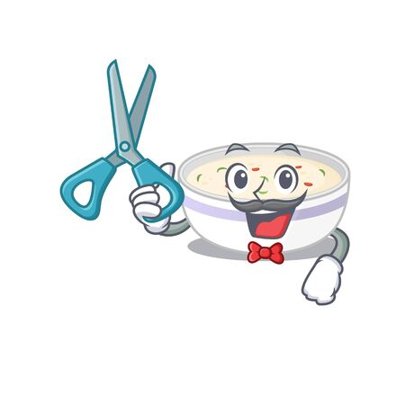 Cartoon character of Sporty Barber steamed egg design style. Vector illustration