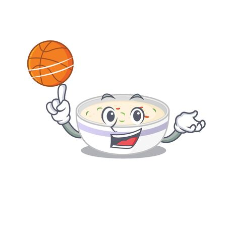 A mascot picture of steamed egg cartoon character playing basketball Ilustração