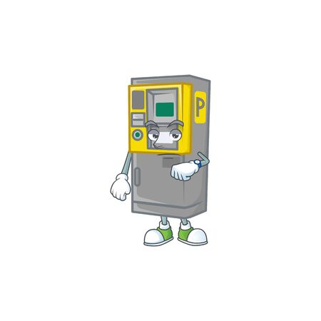 A picture of parking ticket machine on a waiting gesture. Vector illustration