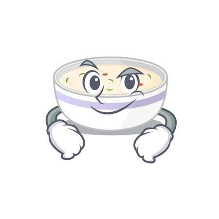 Cool steamed egg mascot character with Smirking face. Vector illustration Vectores