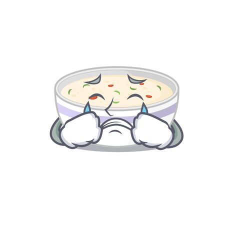 Steamed egg cartoon character concept with a sad face