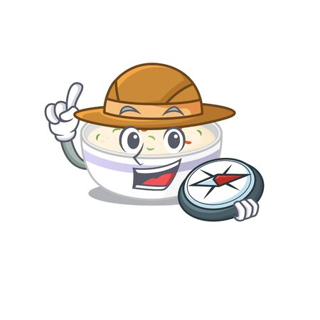 Steamed egg experienced Explorer using a compass