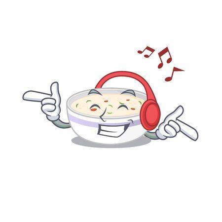 Listening music steamed egg cartoon character concept