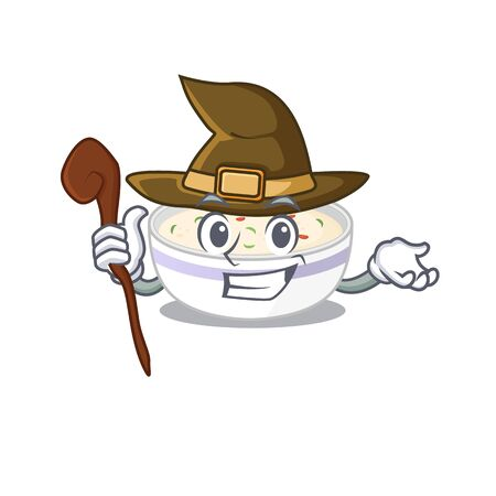 a mascot concept of steamed egg performed as a witch