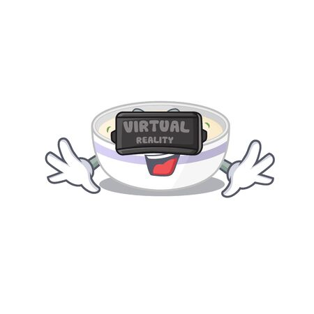 A Picture of steamed egg character wearing Virtual reality headset Illustration