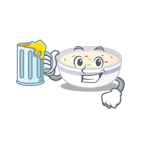 Smiley steamed egg mascot design with a big glass
