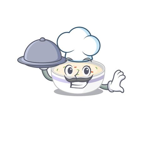 A picture of steamed egg as a Chef serving food on tray Illustration