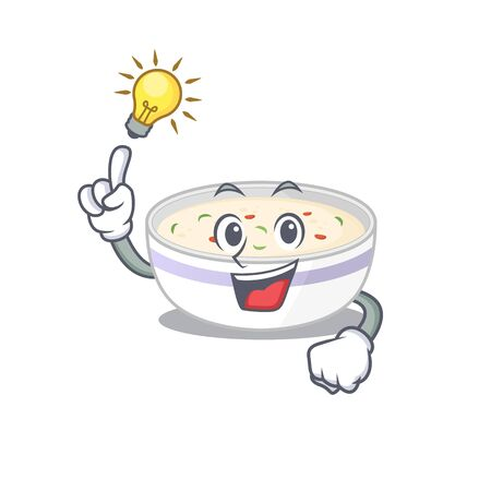 a clever steamed egg cartoon character style have an idea gesture