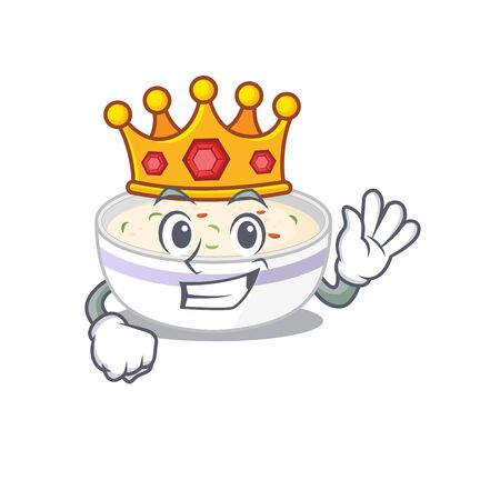 A cartoon mascot design of steamed egg performed as a King on the stage