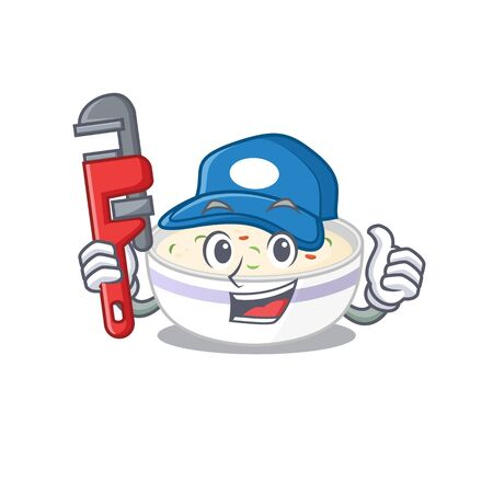 A cute picture of steamed egg working as a Plumber Illustration