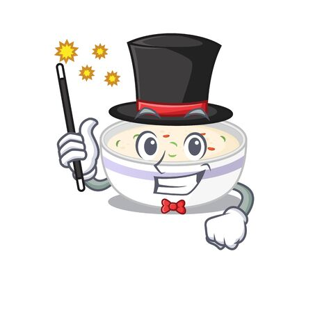 A picture of steamed egg performance as a Magician. Vector illustration Illustration