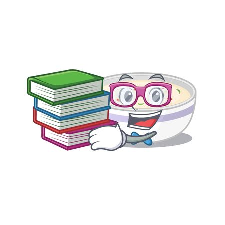mascot cartoon of steamed egg studying with book. Vector illustration