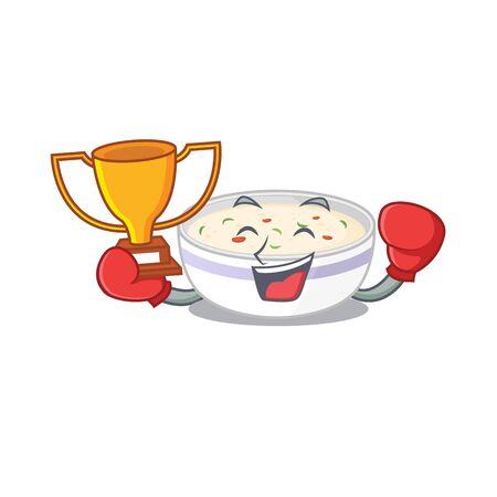 fantastic Boxing winner of steamed egg in mascot cartoon design. Vector illustration