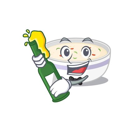 mascot cartoon design of steamed egg with bottle of beer. Vector illustration
