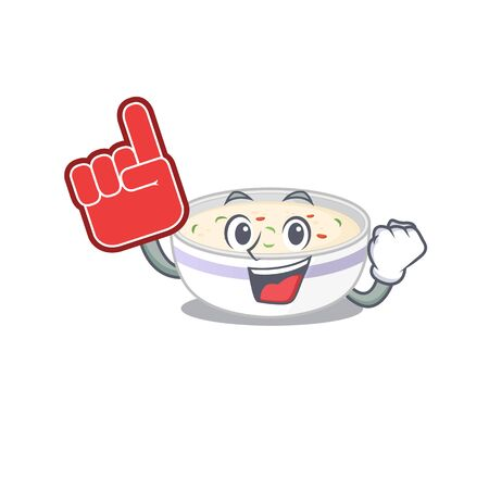 A picture of steamed egg mascot cartoon design holding a Foam finger. Vector illustration